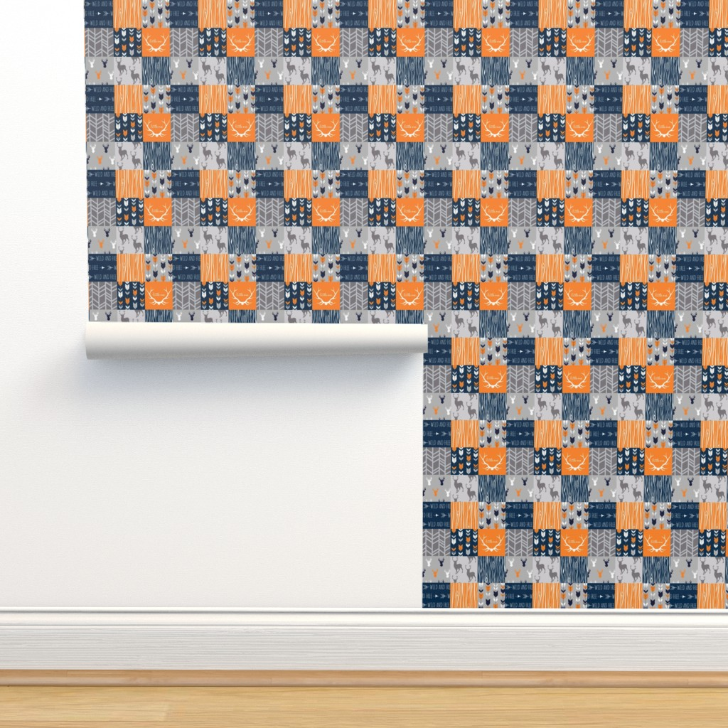 Isobar Durable Wallpaper featuring Patchwork Deer in orange,navy, grey- Wholecloth cheater quilt - baby boy nursery - broncos by sugarpinedesign