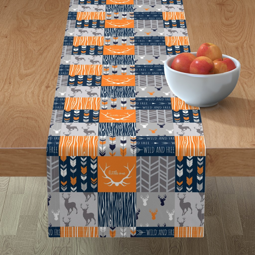Minorca Table Runner featuring Patchwork Deer in orange,navy, grey- Wholecloth cheater quilt - baby boy nursery - broncos by sugarpinedesign