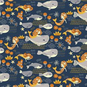 Golden mermaids swim with whales
