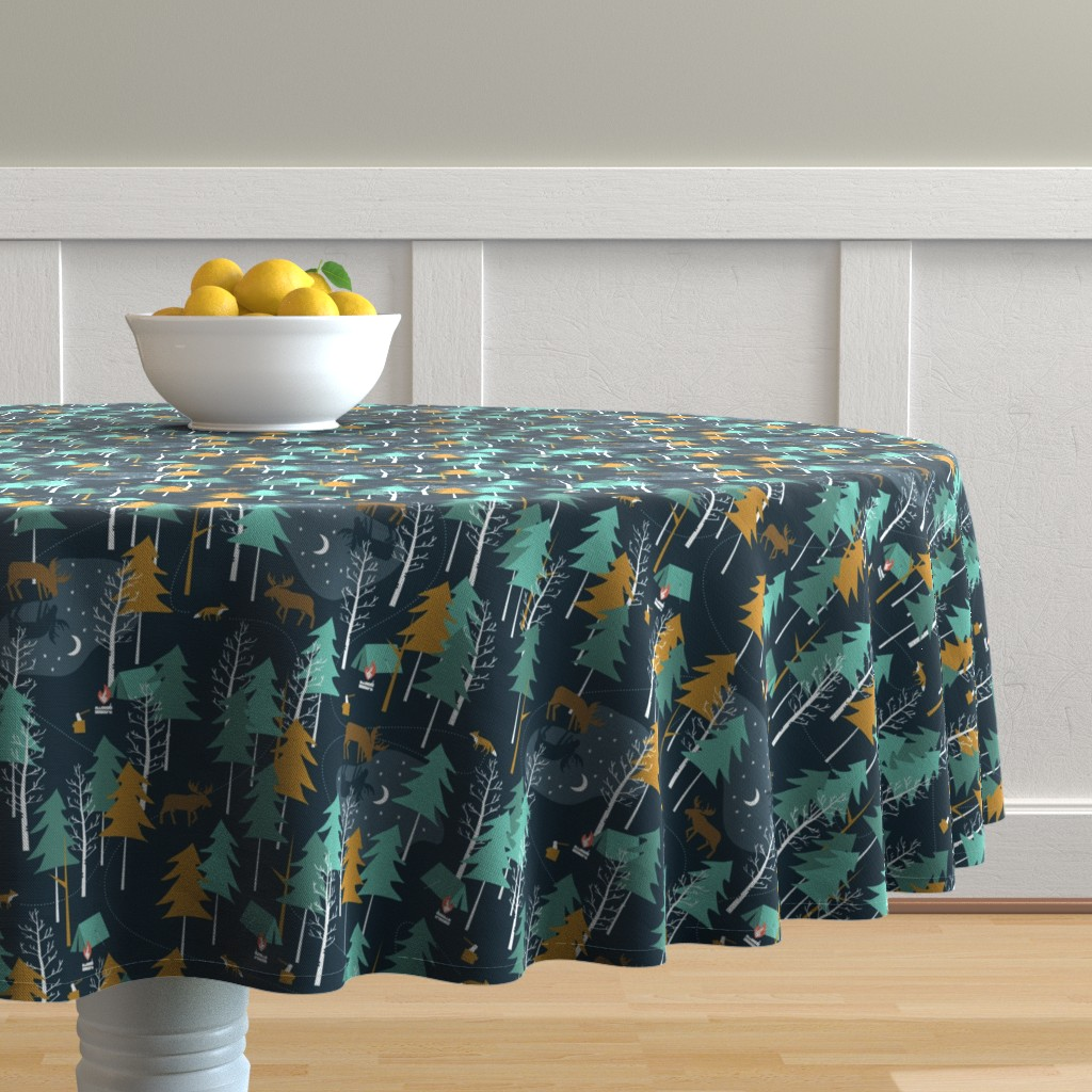 Malay Round Tablecloth featuring Moonlight, small scale - WINTER CAMPING ALTERNATIVE by papercanoefabricshop