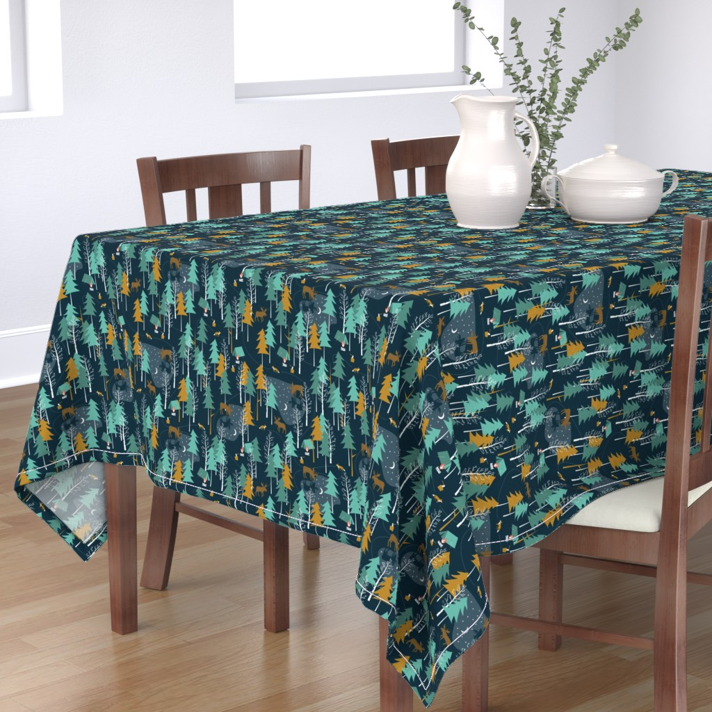Bantam Rectangular Tablecloth featuring Moonlight, small scale - WINTER CAMPING ALTERNATIVE by papercanoefabricshop