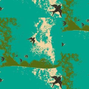 Mountain Birds Camo/teal