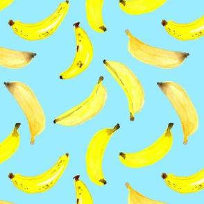 Bananas Watercolour on Blue