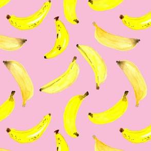 Banana Watercolour on Pink Medium