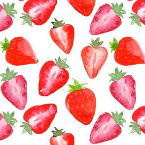 Strawberries Red Watercolour on white
