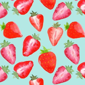 Strawberries Red Watercolour on mint