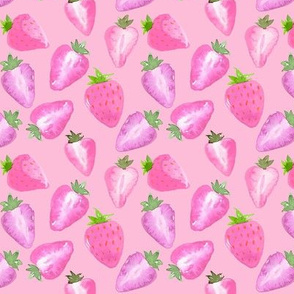 Strawberries Pink Watercolour on Pink SMALL