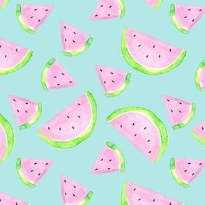 Watermelon Watercolour on mint