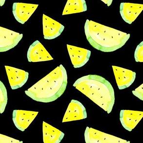 Watermelon yellow on black