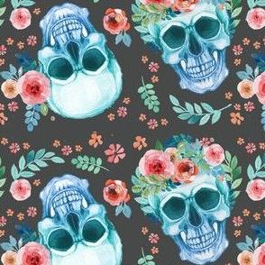 Skull Sugar Skull Watercolor Spring Flowers Pastel Water Color Dark Grey