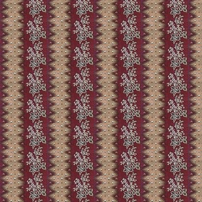 Maroon & Flowers Stripe