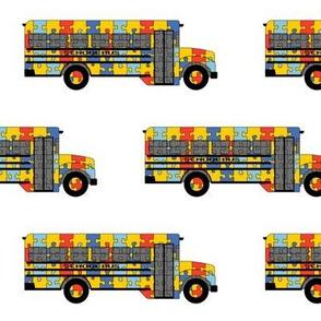 Autism Awareness school bus - small