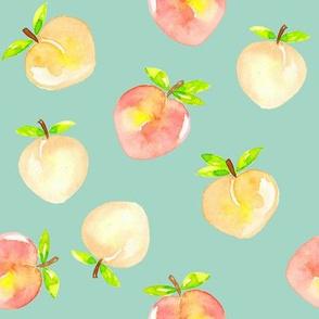 Peaches watercolour on mint