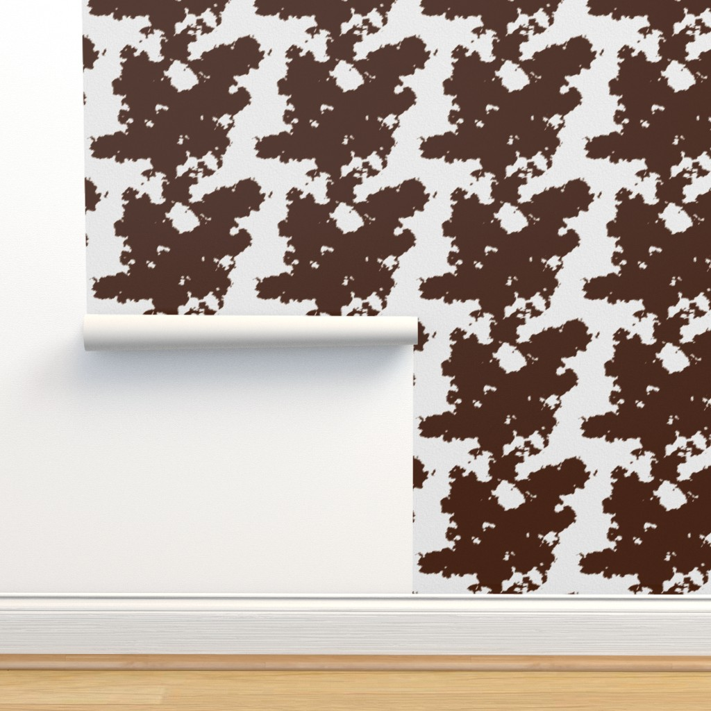 Isobar Durable Wallpaper featuring Realistic Brown Cow Hide Animal Print by themadcraftduckie