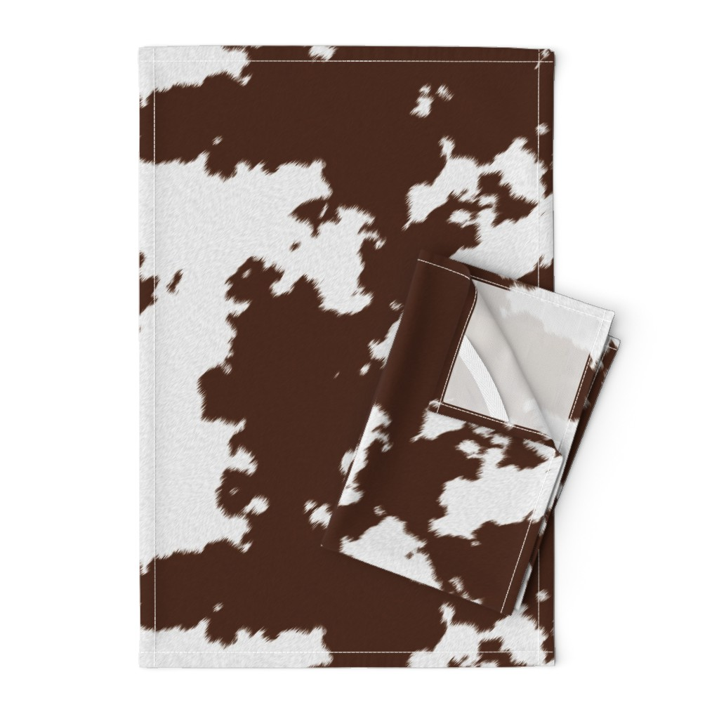 Orpington Tea Towels featuring Realistic Brown Cow Hide Animal Print by themadcraftduckie