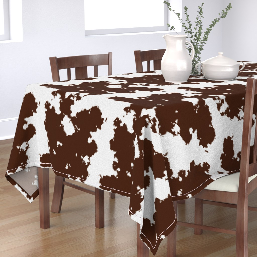 Bantam Rectangular Tablecloth featuring Realistic Brown Cow Hide Animal Print by themadcraftduckie