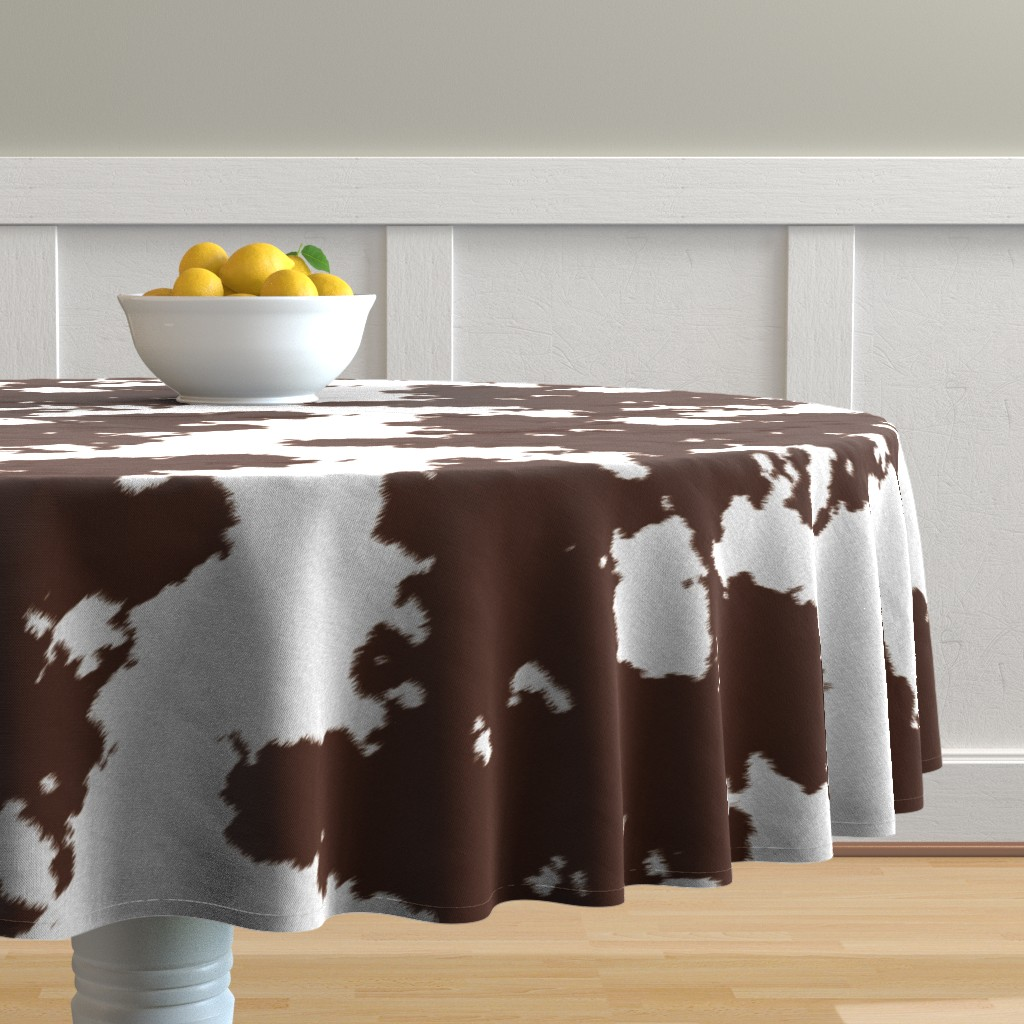 Malay Round Tablecloth featuring Realistic Brown Cow Hide Animal Print by themadcraftduckie