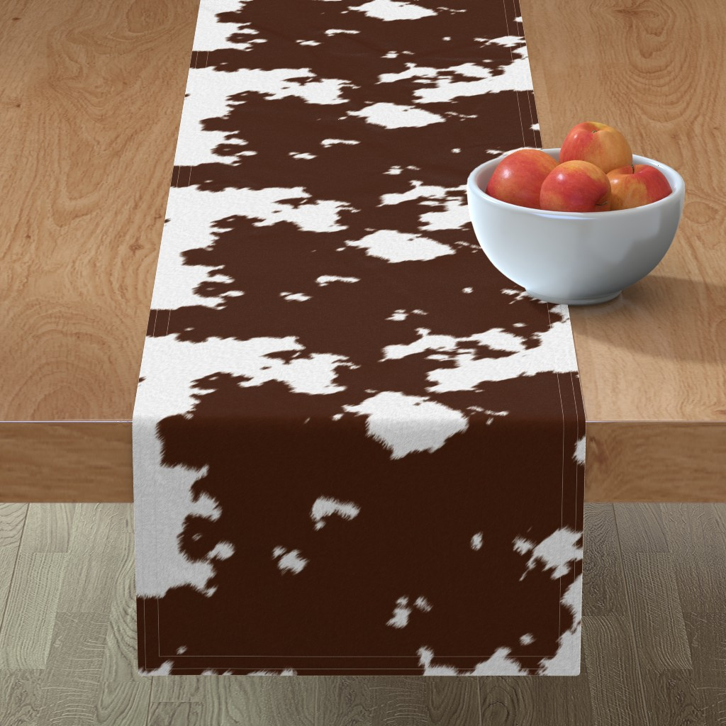 Minorca Table Runner featuring Realistic Brown Cow Hide Animal Print by themadcraftduckie