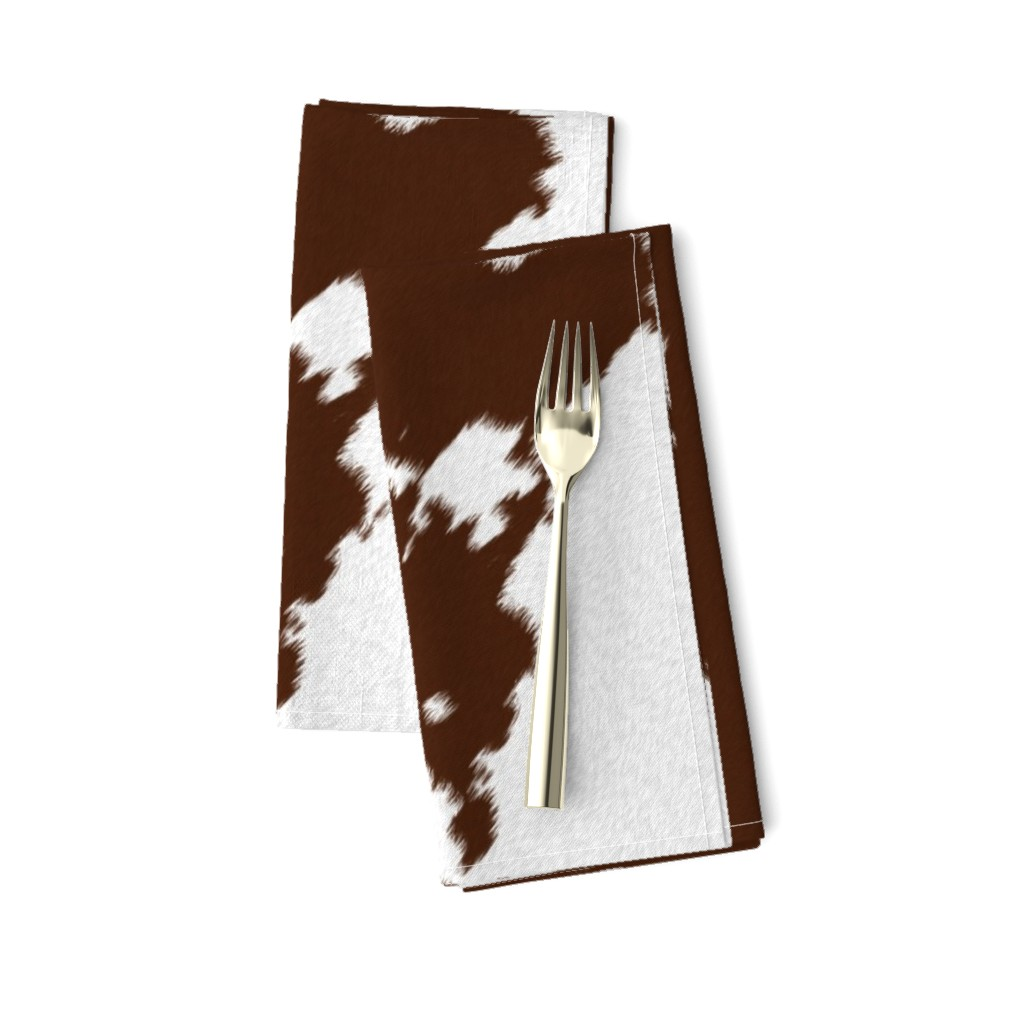 Amarela Dinner Napkins featuring Realistic Brown Cow Hide Animal Print by themadcraftduckie