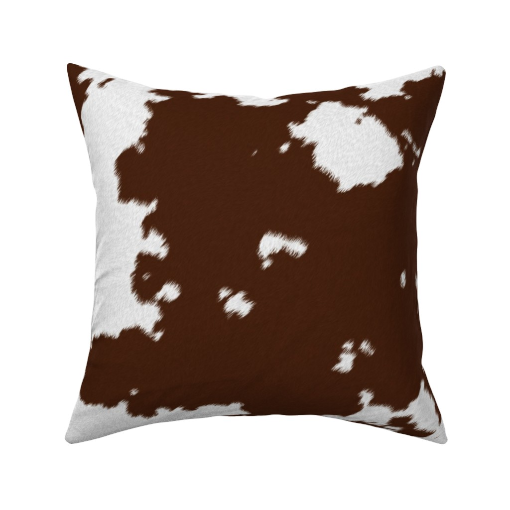 Catalan Throw Pillow featuring Realistic Brown Cow Hide Animal Print by themadcraftduckie