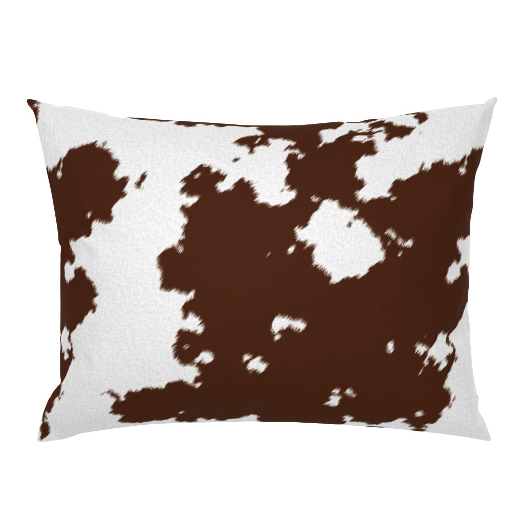 Campine Pillow Sham featuring Realistic Brown Cow Hide Animal Print by themadcraftduckie