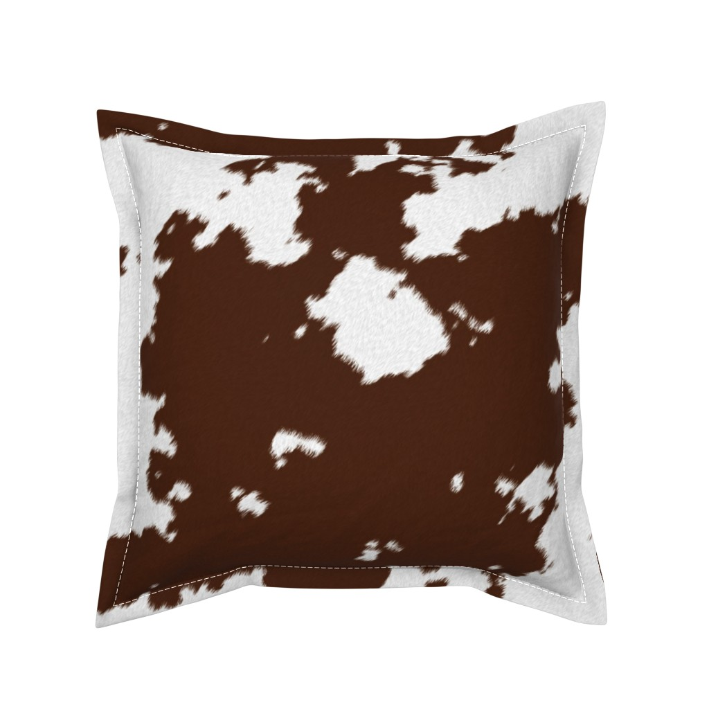 Serama Throw Pillow featuring Realistic Brown Cow Hide Animal Print by themadcraftduckie