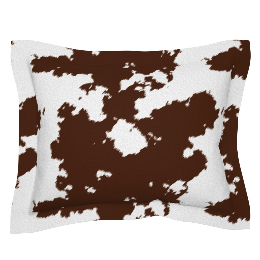 Sebright Pillow Sham featuring Realistic Brown Cow Hide Animal Print by themadcraftduckie