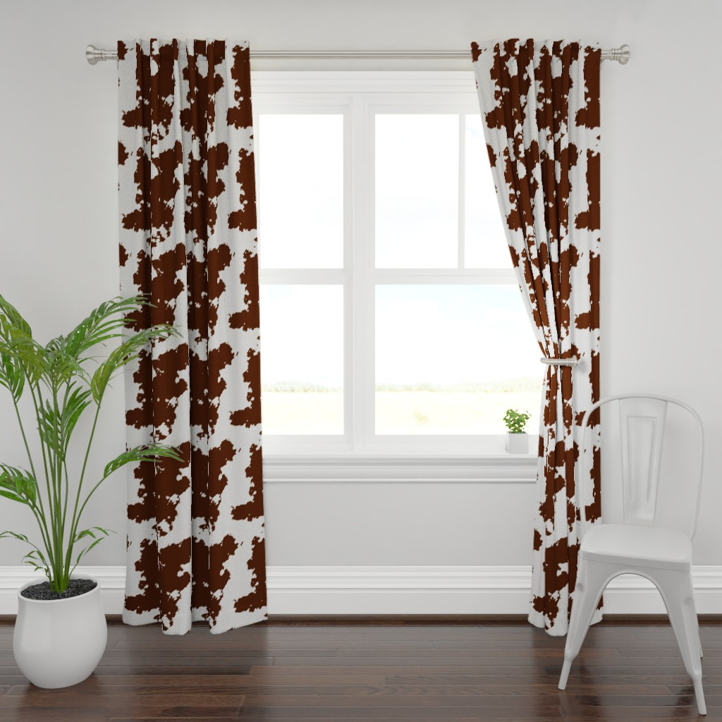 Plymouth Curtain Panel featuring Realistic Brown Cow Hide Animal Print by themadcraftduckie