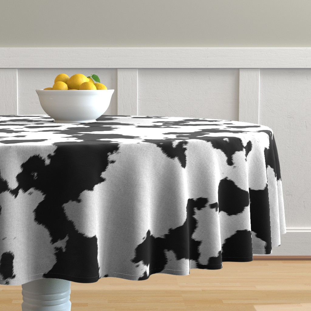 Malay Round Tablecloth featuring Realistic White Dairy Cow Hide Animal Print by themadcraftduckie