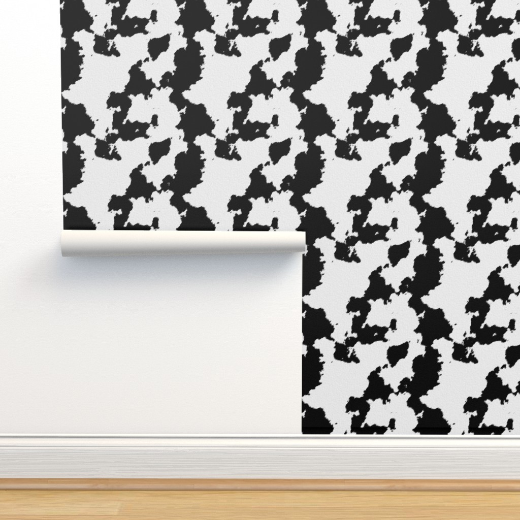 Isobar Durable Wallpaper featuring Realistic White Dairy Cow Hide Animal Print by themadcraftduckie