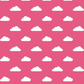 mod baby tiny clouds white on hot pink