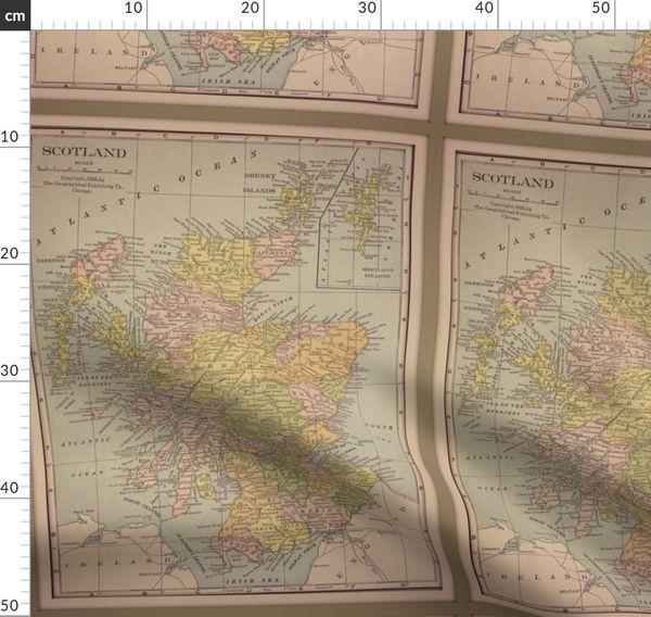 Schottland Schottisch Altmodische Landkarte Vintage Landkarte