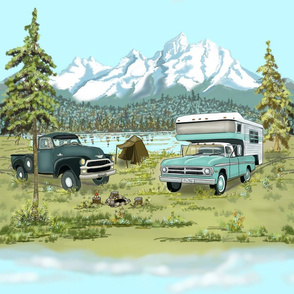 Large Print Camping in Mountains by Salzanos