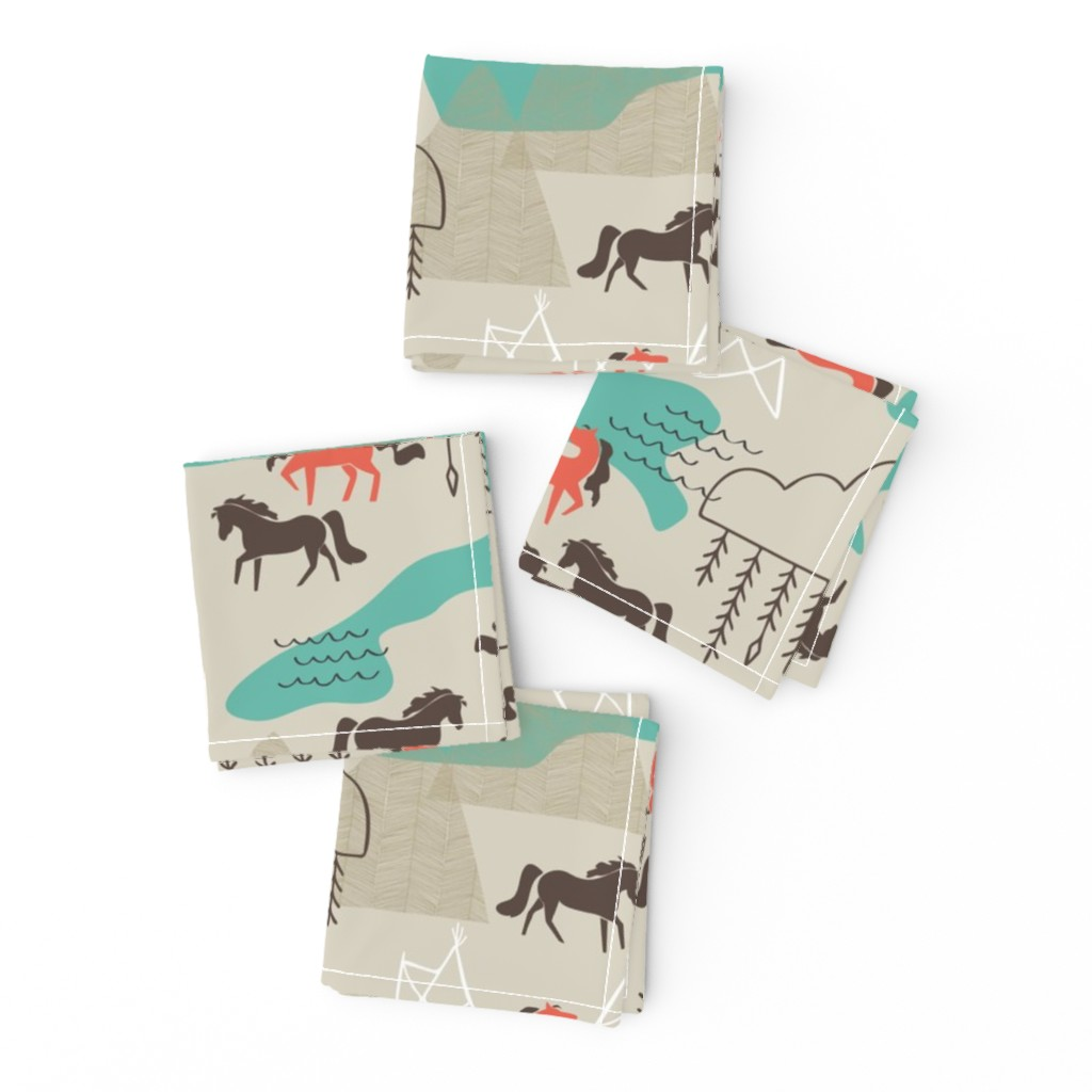 Frizzle Cocktail Napkins featuring Wild Horses by papercanoefabricshop