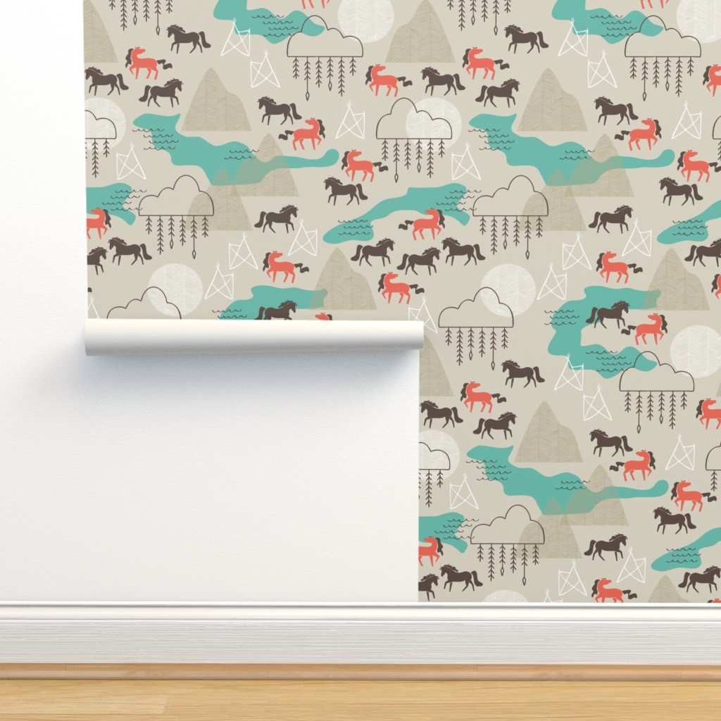 Isobar Durable Wallpaper featuring Wild Horses by papercanoefabricshop