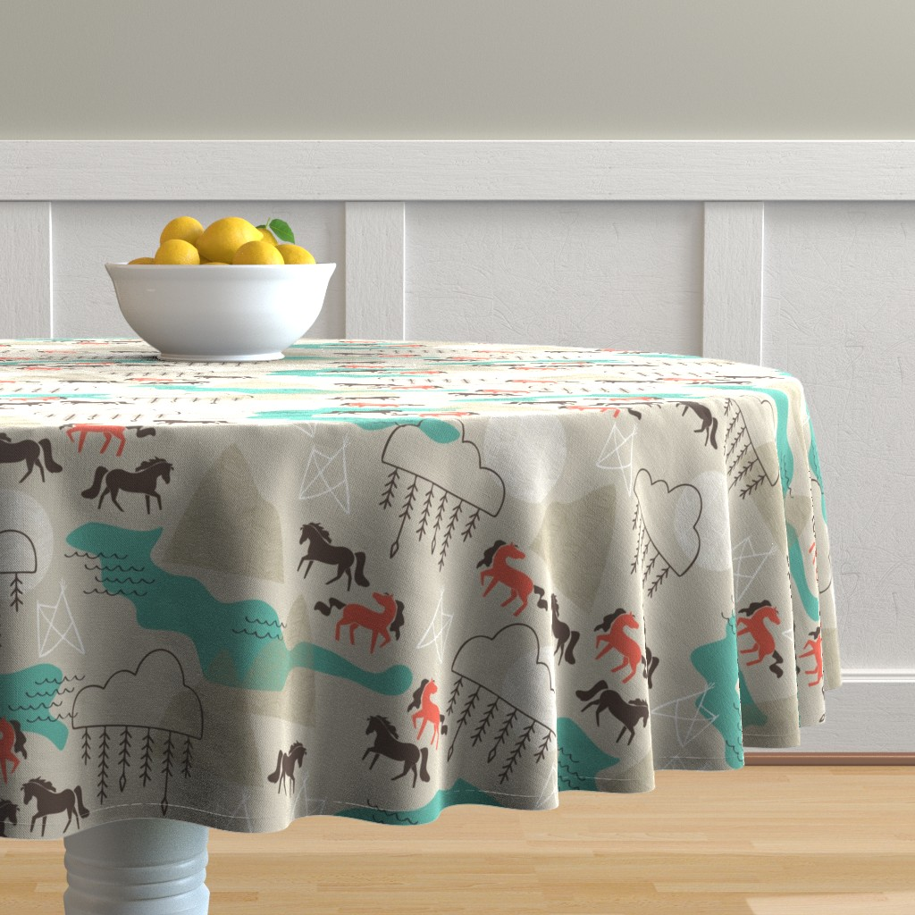 Malay Round Tablecloth featuring Wild Horses by papercanoefabricshop