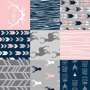 Patchwork Deer and Arrow - Littleone Wholecloth in pink, navy, grey