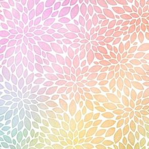 Pastel Rainbow Watercolor Dahlia Pattern