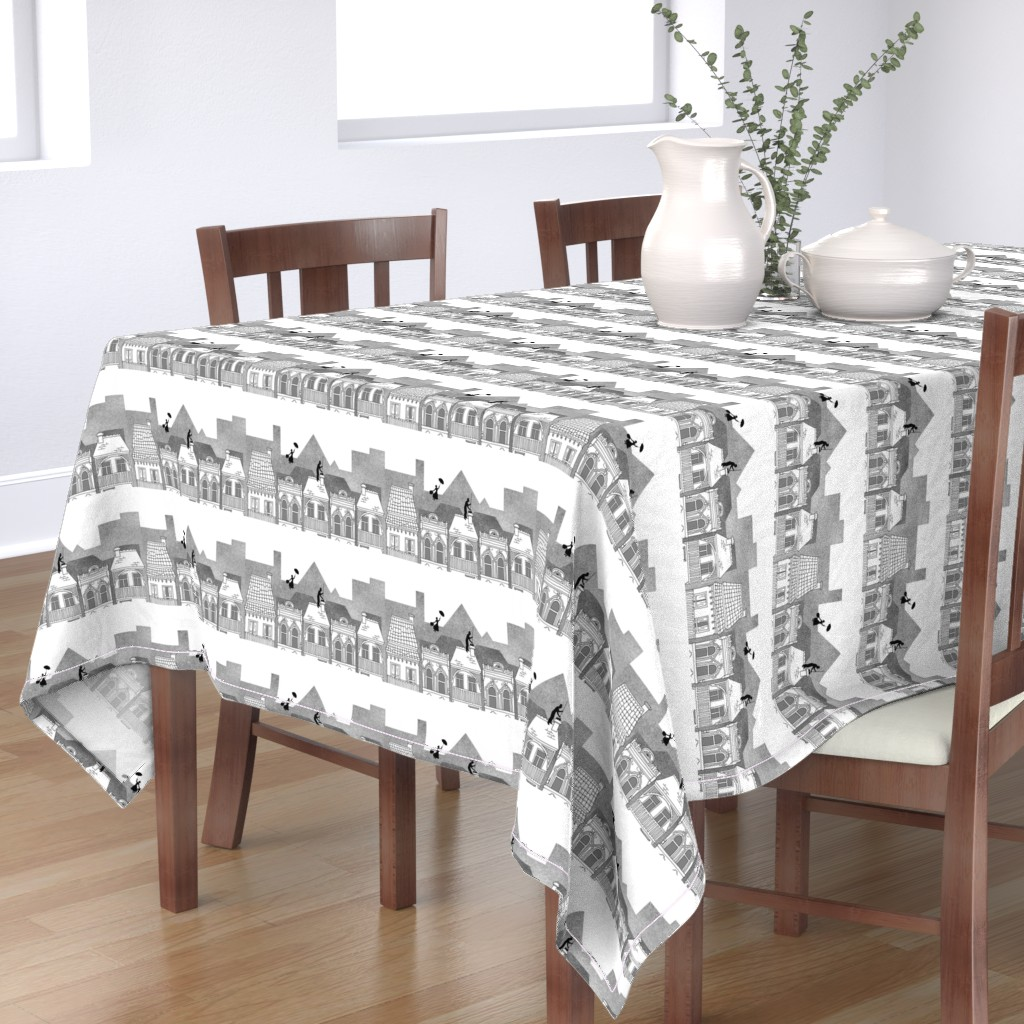 Bantam Rectangular Tablecloth featuring Mary Poppins (black and white) by delsie