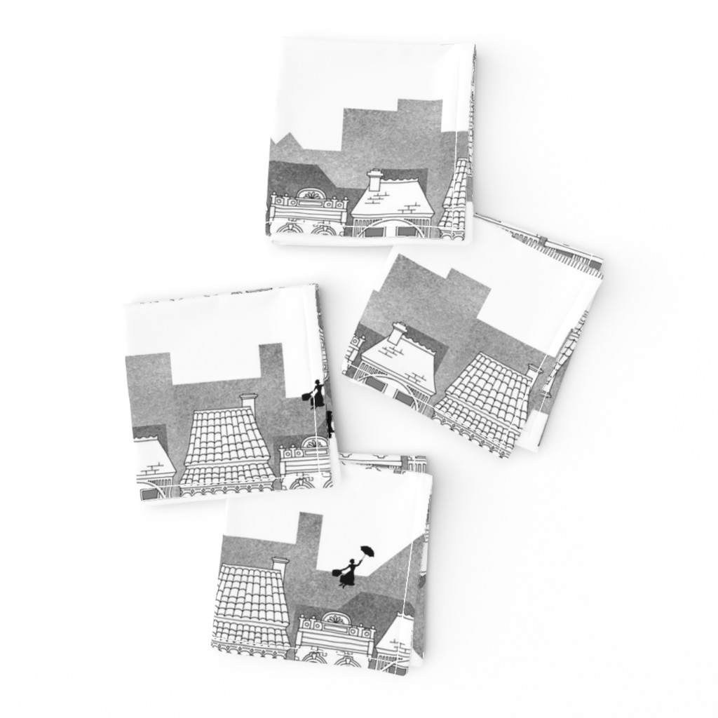 Frizzle Cocktail Napkins featuring Mary Poppins (black and white) by delsie