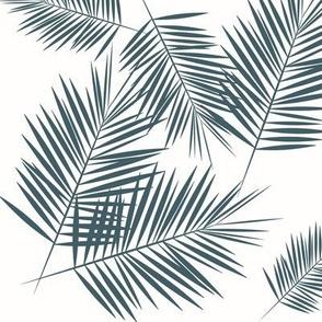 Palm leaf - dusty blue palm leaves, navy, tropical palm tree