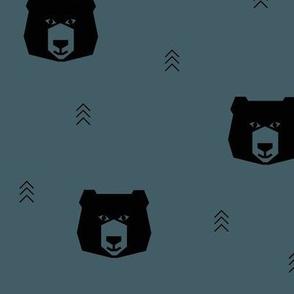bear heads - dusty blue bears woods forest geometric bears