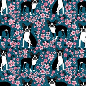 Boston Terrier cherry blossom spring florals dog breed patterned fabric navy