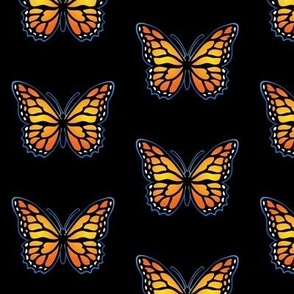 Monarch Butterflies on Black