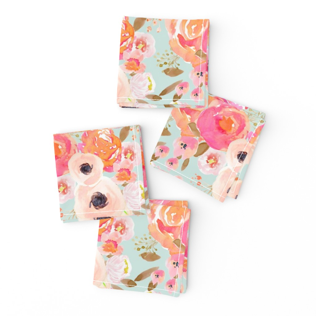 Frizzle Cocktail Napkins featuring INDY BLOOM BLUSH Florals BLUE B by indybloomdesign