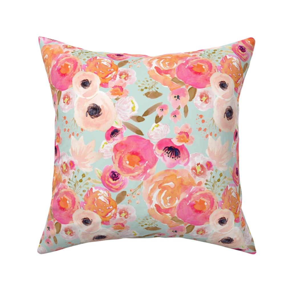 Catalan Throw Pillow featuring INDY BLOOM BLUSH Florals BLUE B by indybloomdesign