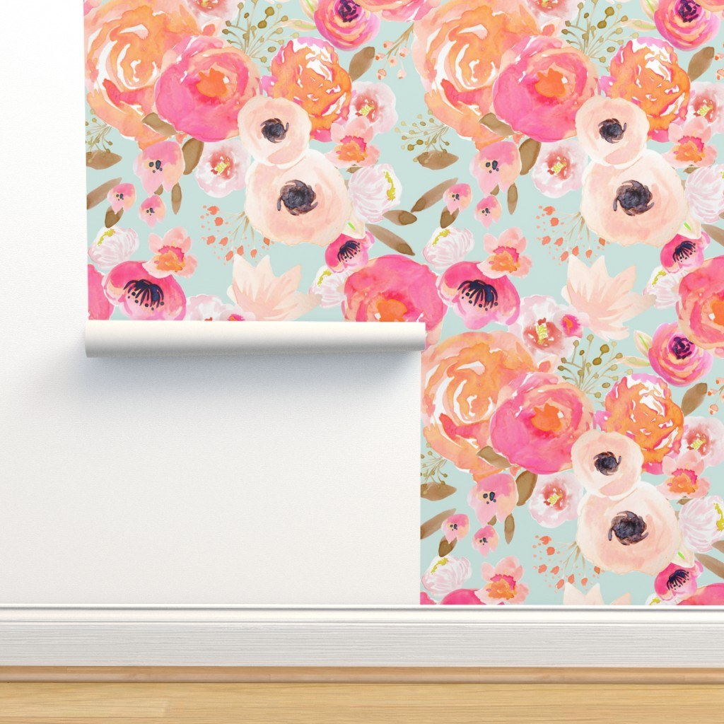 Isobar Durable Wallpaper featuring INDY BLOOM BLUSH Florals BLUE B by indybloomdesign