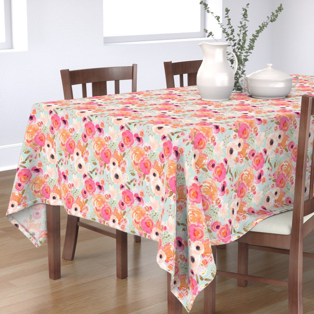 Bantam Rectangular Tablecloth featuring INDY BLOOM BLUSH Florals BLUE B by indybloomdesign