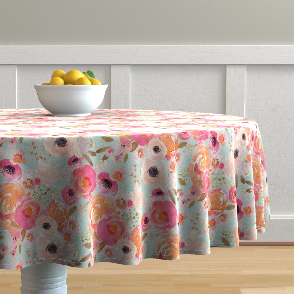 Malay Round Tablecloth featuring INDY BLOOM BLUSH Florals BLUE B by indybloomdesign