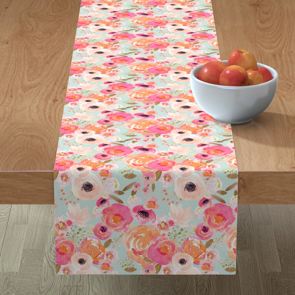Minorca Table Runner featuring INDY BLOOM BLUSH Florals BLUE B by indybloomdesign